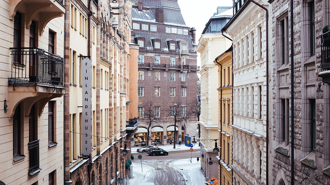 The pictures shows a street in Stockholm in winter
